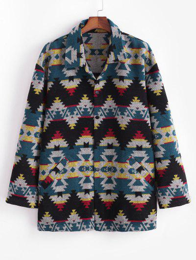Ethnic Tribal Pattern Knitted Jacket - Blue M