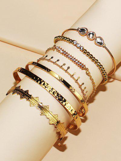 7Pcs Rhinestone Adjustable Bracelet Set - Golden