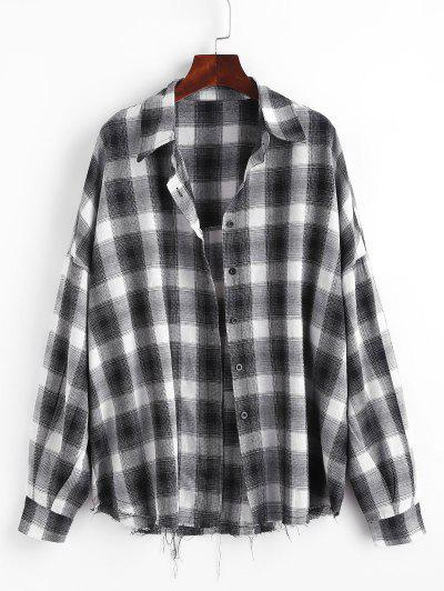 Checked Raw Hem Oversized Shirt - Black L