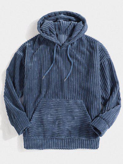 Corduroy Solid Front Pocket Hoodie - Blue L