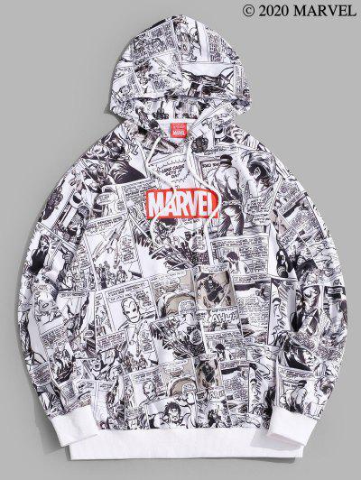 Marvel Spider-Man Comics Printed Drawstring Pullover Hoodie - White M