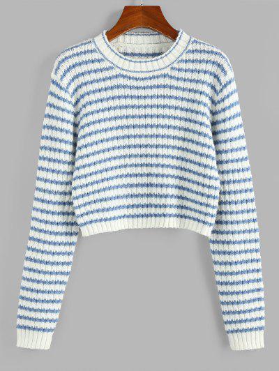 ZAFUL Striped Crop Jumper Sweater - Light Blue L