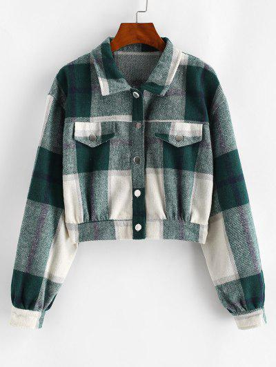 Button Up Plaid Wool Blend Jacket - Deep Green L