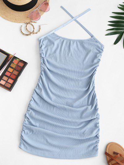 ZAFUL Ribbed Criss Cross Ruched Cami Dress - Light Blue S