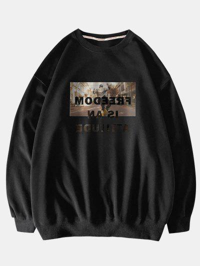 Letter Graphic Pullover Crew Neck Sweatshirt - Black L