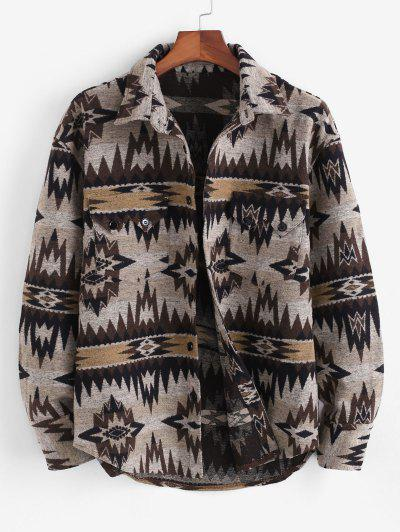 Ethnic Tribal Pattern Pocket Button Up Jacket - Light Coffee S