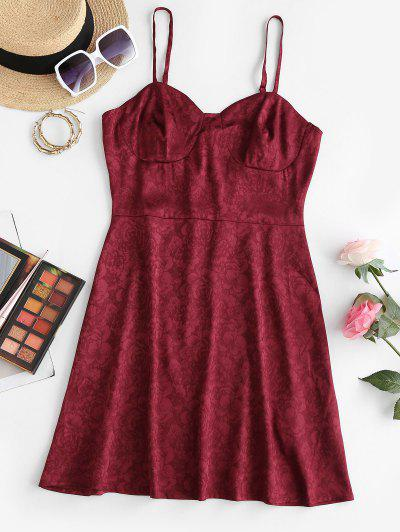 ZAFUL Jacquard Cupped Adjusted Strap Cami Dress - Deep Red S