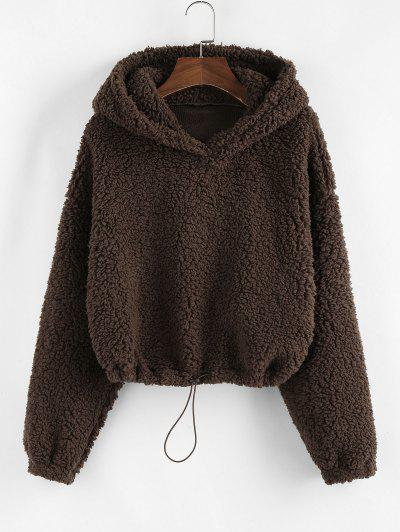ZAFUL Drop Shoulder Cropped Teddy Hoodie - Deep Brown M
