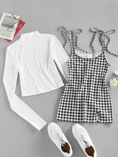 ZAFUL Ribbed Slim Tee With Plaid Tie Strap Dress Set - White M