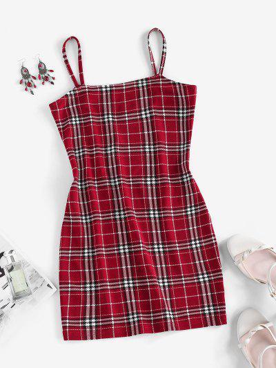 ZAFUL Plaid Cami Bodycon Dress - Red M