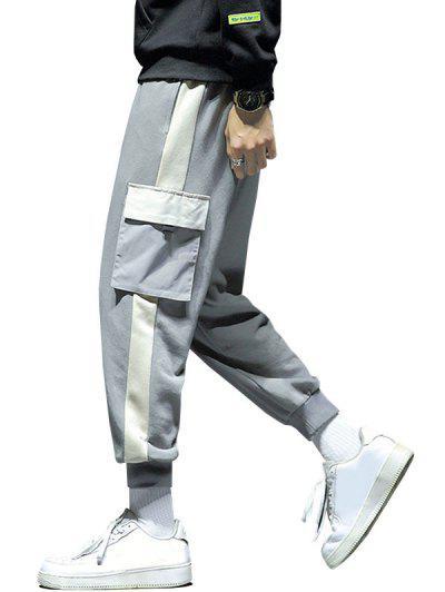 Pantalon De Survêtement Cargo De Jogging Panneau En Blocs De Couleurs Avec Poche - Nuage Gris L