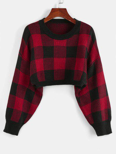 ZAFUL Plaid Drop Shoulder Crop Sweater - Chestnut Red S