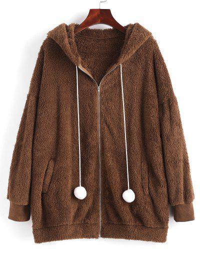 ZAFUL Bunny Ear Hooded Drop Shoulder Plush Coat - Deep Coffee M