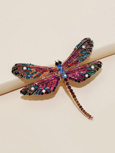 Dragonfly Shape Rhinestone Brooch - Golden