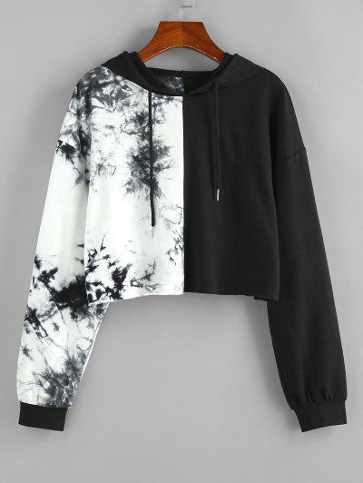 ZAFUL Tie Dye Bicolor Cropped Hoodie - Black M