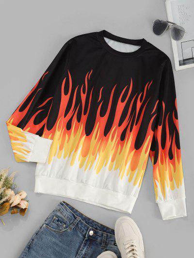 Contrast Flame Print Sweatshirt - Black Xl