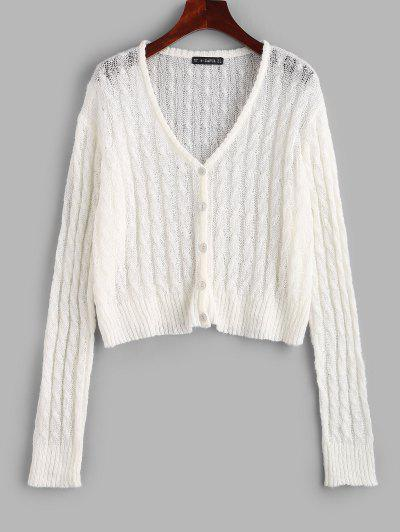 Cable Knit Semi Sheer Cardigan - White M