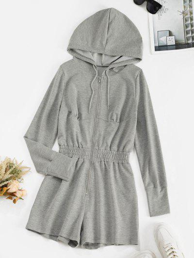 ZAFUL Drawstring Hooded Zip Front Sweat Romper - Light Gray M