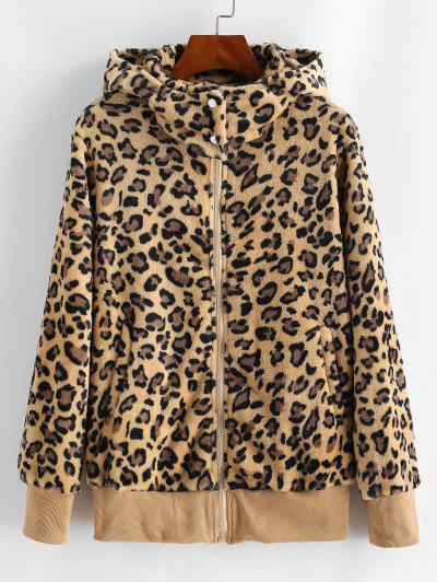 Pockets Zip Up Leopard Faux Fur Coat - Wood S