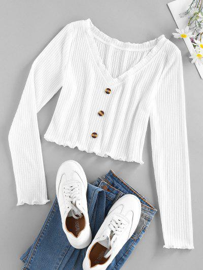 ZAFUL Ribbed Lettuce Mock Button Crop Sweater - White S