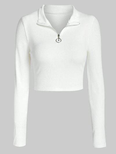 ZAFUL Camiseta Corta Con Media Cremallera - Blanco L