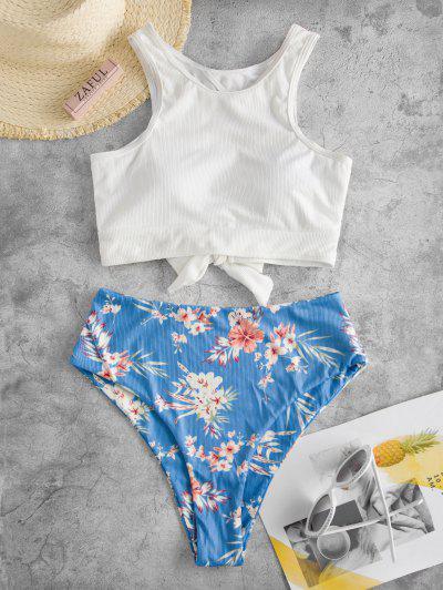 ZAFUL Ribbed Cutout Floral Print Tankini Swimwear - White 2xl