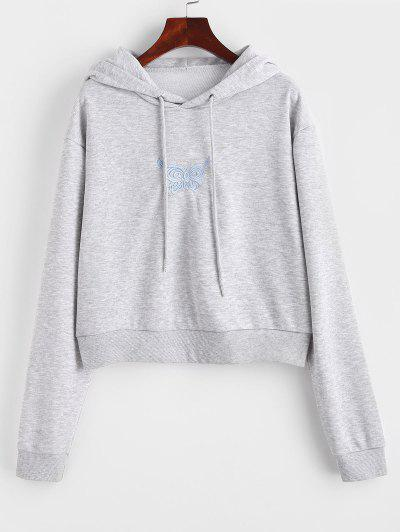 Marled French Terry Butterfly Embroidered Hoodie - Gray M