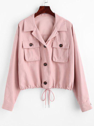 ZAFUL Drop Shoulder Pocket Drawstring Hem Jacket - Khaki Rose M
