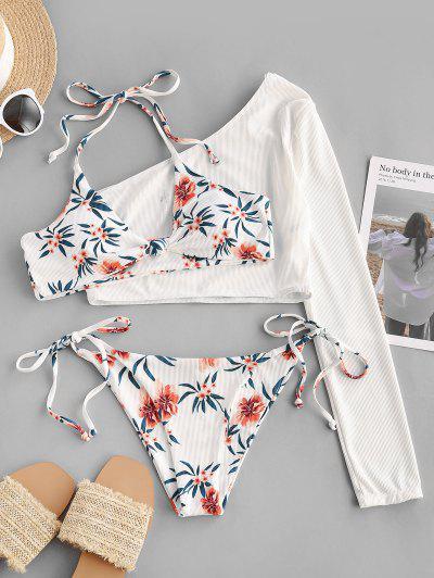 ZAFUL Floral Ribbed Knot Tie Side Three Piece Bikini Swimsuit - White L