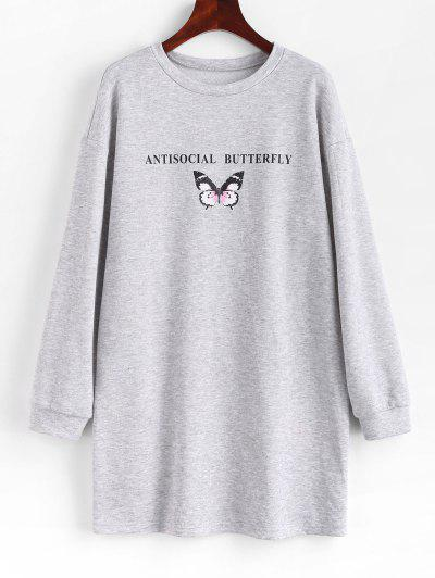 ZAFUL Antisocial Butterfly Print Drop Shoulder Sweatshirt Dress - Platinum M