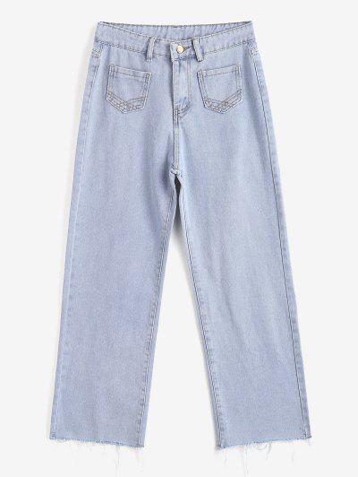 Jeans Desteñidos De Pierna Ancha - Azul Claro Xl