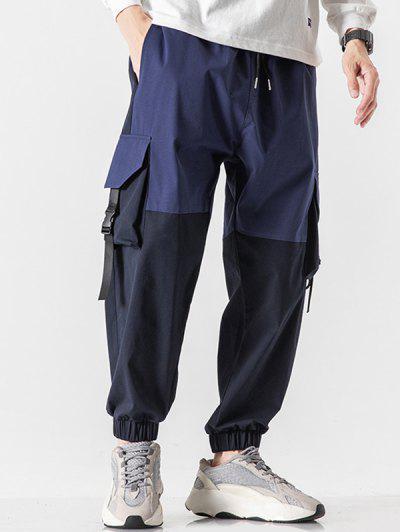 Colorblock Panel Flap Pocket Beam Feet Cargo Pants - Denim Dark Blue Xs