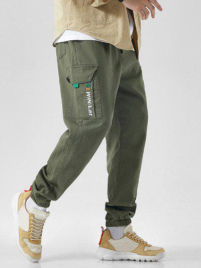 Letter Embroidered Drawstring Jogger Cargo Pants - Army Green Xs