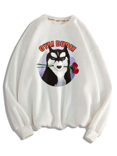 Dog With Rose Pattern Crew Neck Sweatshirt - White Xl