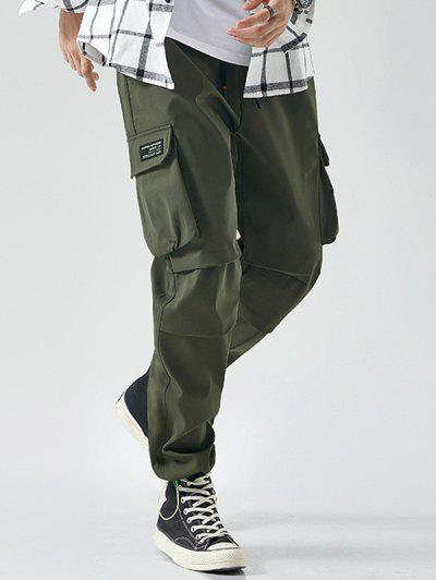 Toggle Drawstring Applique Detail Tapered Cargo Pants - Army Green Xl