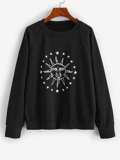 Raglan Ärmel Sonnen Stern Grafik Sweatshirt - Nacht L