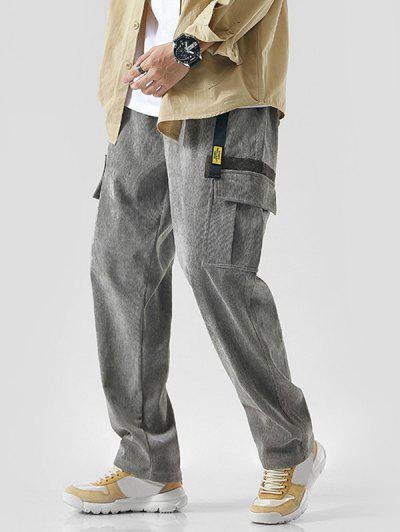 Buckle Ribbon Applique Corduroy Cargo Pants - Light Gray Xl