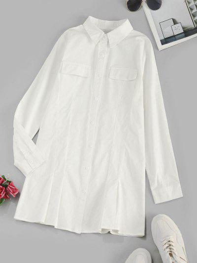 Flap Details Long Sleeve Shirt Dress - White M