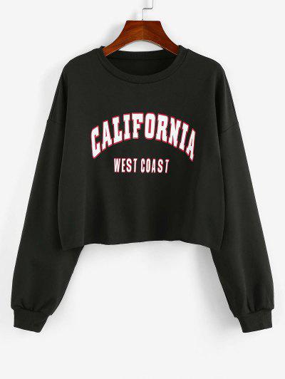 ZAFUL Letter Print Cropped Sweatshirt - Black M