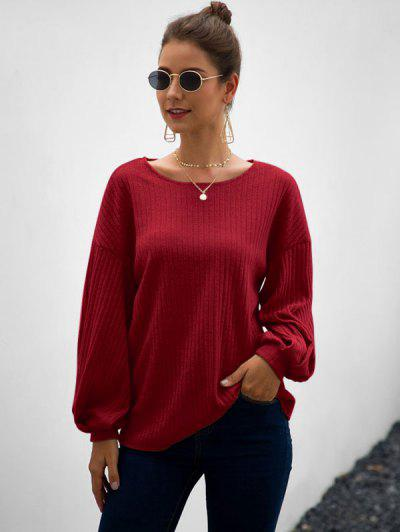 Wide Rib Lantern Sleeve Knitwear - Red Wine M