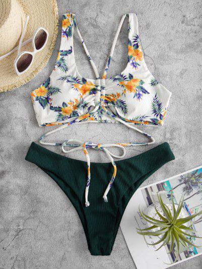 ZAFUL Bikini Fruncido De Flores De Cino - Verde Oscuro L