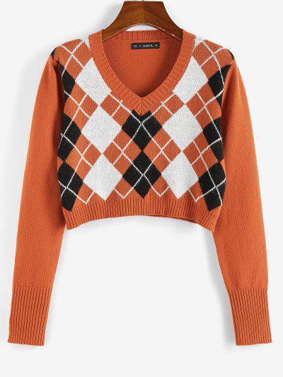 ZAFUL Argyle V Neck Crop Sweater - Orange M