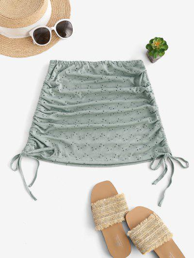 Cinched Eyelet Cover-up Skirt - Dark Sea Green