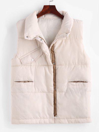 Pockets Zip Up Padded Vest - Apricot M