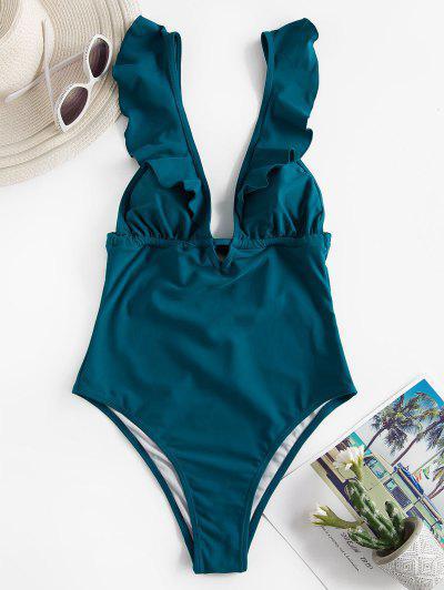 ZAFUL Plunge Ruffle Open Back One-piece Swimsuit - Deep Green S