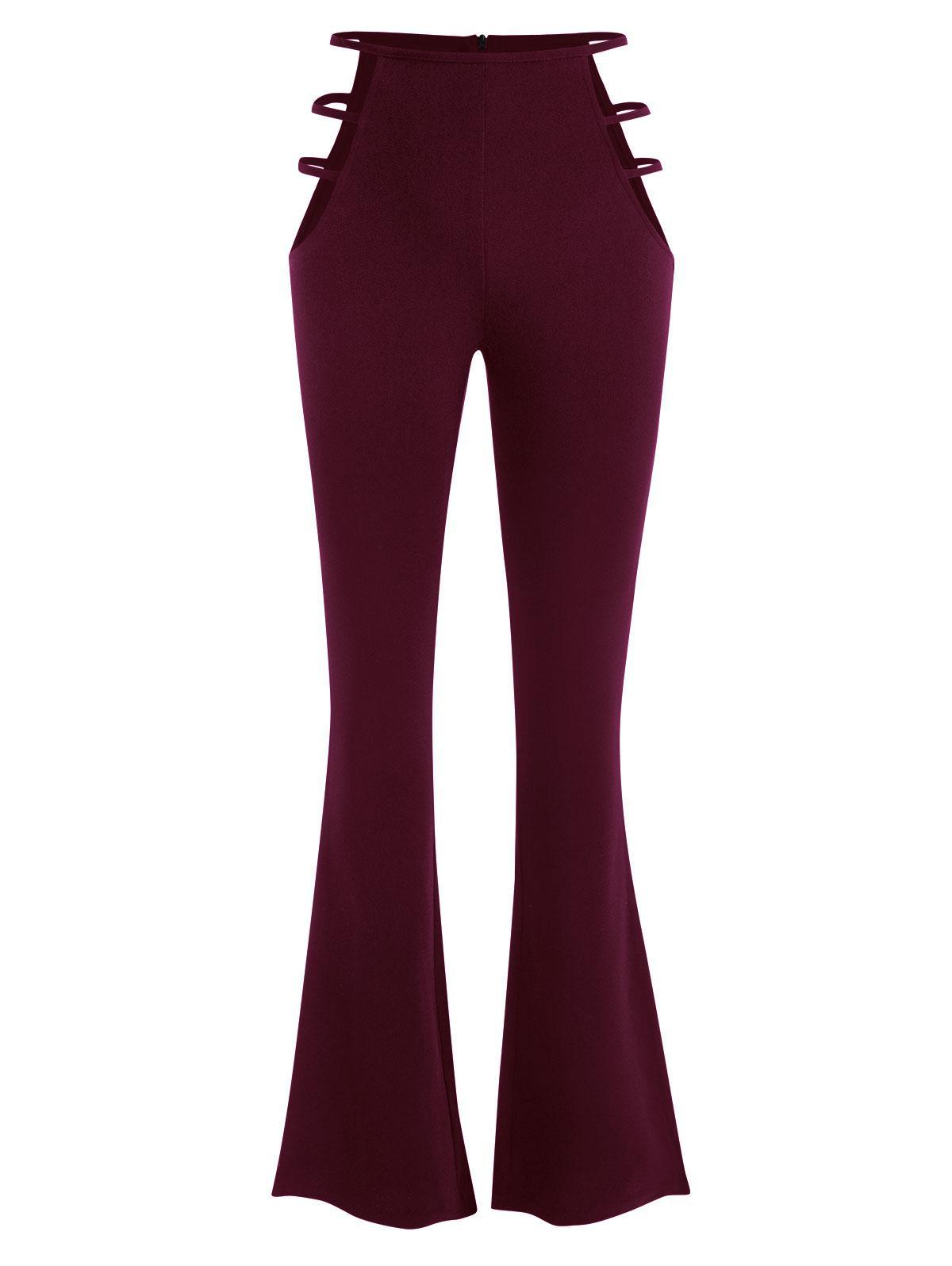 PantalonBootcutDécoupé Texturé à Taille Haute S - Zaful FR - Modalova
