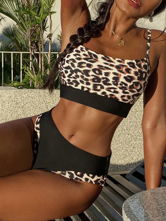 ZAFUL Leopard Insert High Waisted Tankini Swimwear - أسود S