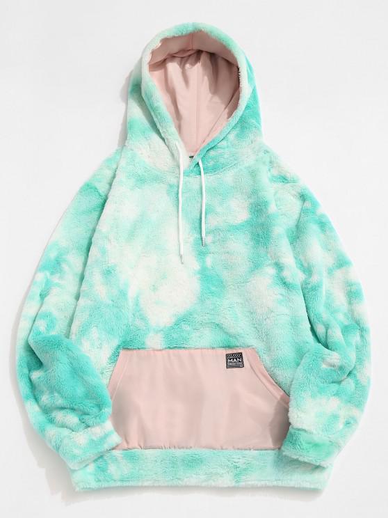 Front Pocket Applique Tie Dye Faux Fur Fluffy Hoodie - ضوء الزبرجد S