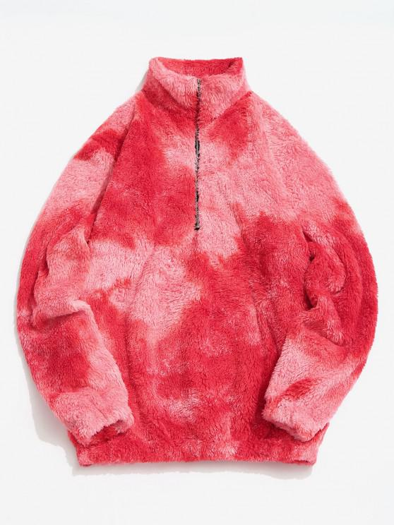 new Half Zip Colorful Faux Fur Fluffy Sweatshirt - RED M