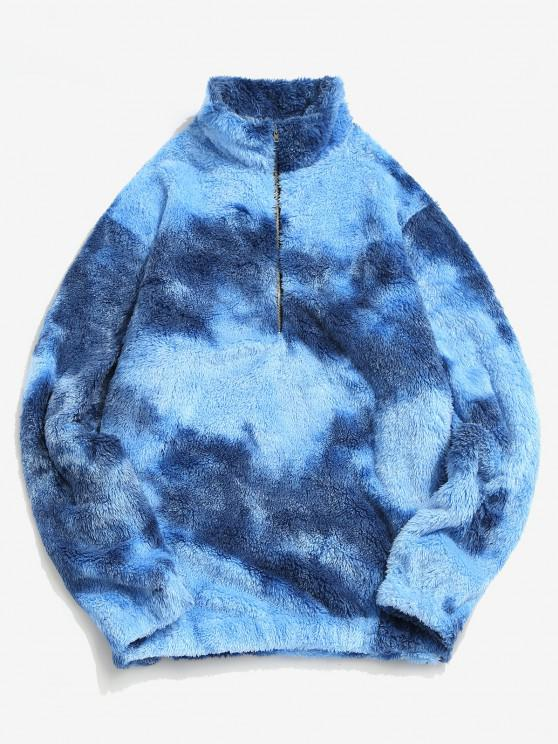 Half Zip Colorful Faux Fur Fluffy Sweatshirt - أزرق S